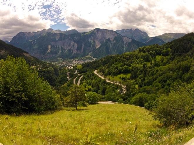 Halfway up Alpe d'Huez